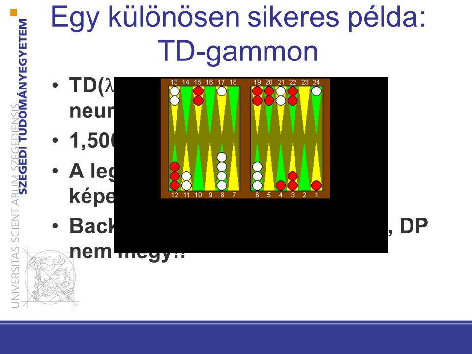 Egy különösen sikeres példa: TD-gammon TD( ) tanulás, 1 rejtett rétegű neuronháló, Backprop 1,500,000 játék (saját magával) A legjobb játékosokkal azo