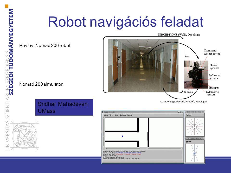 Robot navigációs feladat Pavlov: Nomad 200 robot Nomad 200 simulator Sridhar Mahadevan UMass