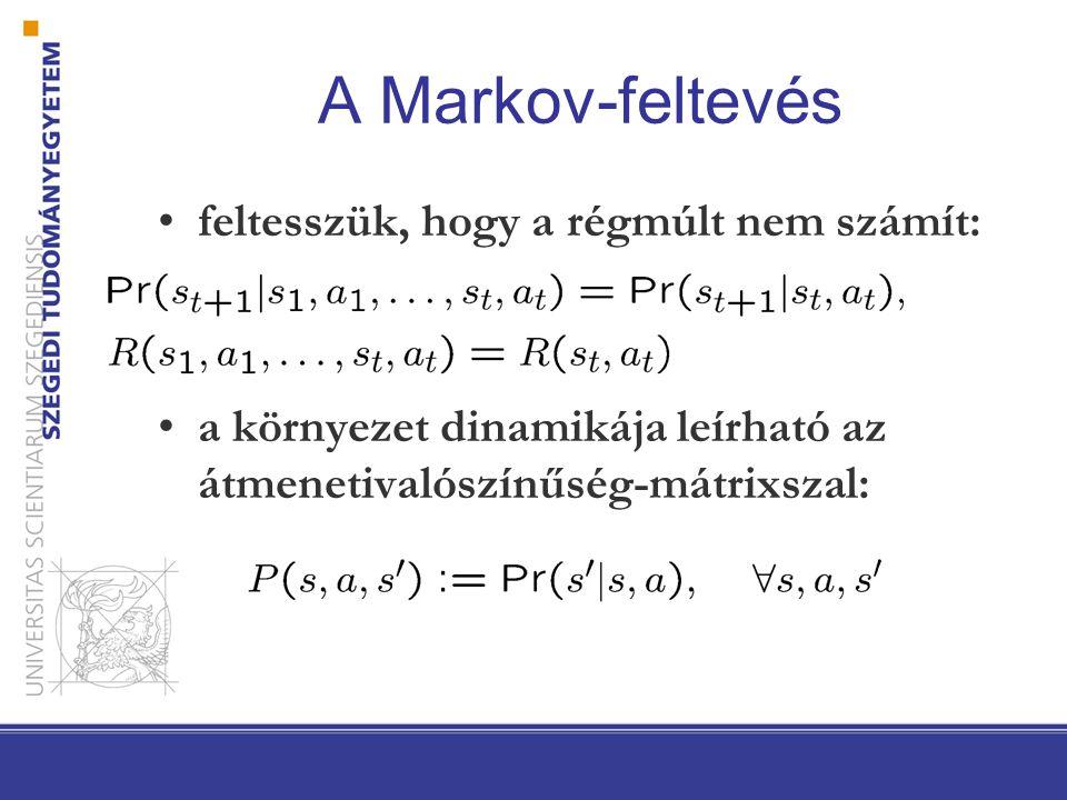 A Markov-feltevés feltesszük, hogy a régmúlt nem számít: a környezet dinamikája leírható az átmenetivalószínűség-mátrixszal: