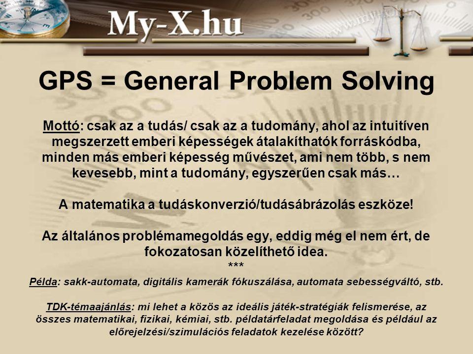 GPS = General Problem Solving Mottó: csak az a tudás/ csak az a tudomány, ahol az intuitíven megszerzett emberi képességek átalakíthatók forráskódba, minden más emberi képesség művészet, ami nem több, s nem kevesebb, mint a tudomány, egyszerűen csak más… A matematika a tudáskonverzió/tudásábrázolás eszköze.