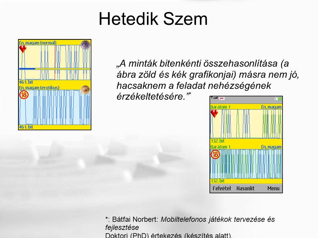 """Hetedik Szem """"A minták bitenkénti összehasonlítása (a ábra zöld és kék grafikonjai) másra nem jó, hacsaknem a feladat nehézségének érzékeltetésére."""" *"""