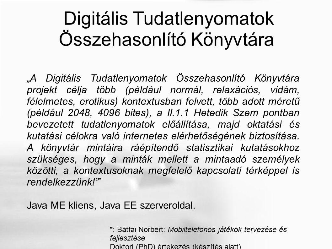 """Digitális Tudatlenyomatok Összehasonlító Könyvtára """"A Digitális Tudatlenyomatok Összehasonlító Könyvtára projekt célja több (például normál, relaxációs, vidám, félelmetes, erotikus) kontextusban felvett, több adott méretű (például 2048, 4096 bites), a II.1.1 Hetedik Szem pontban bevezetett tudatlenyomatok előállítása, majd oktatási és kutatási célokra való internetes elérhetőségének biztosítása."""