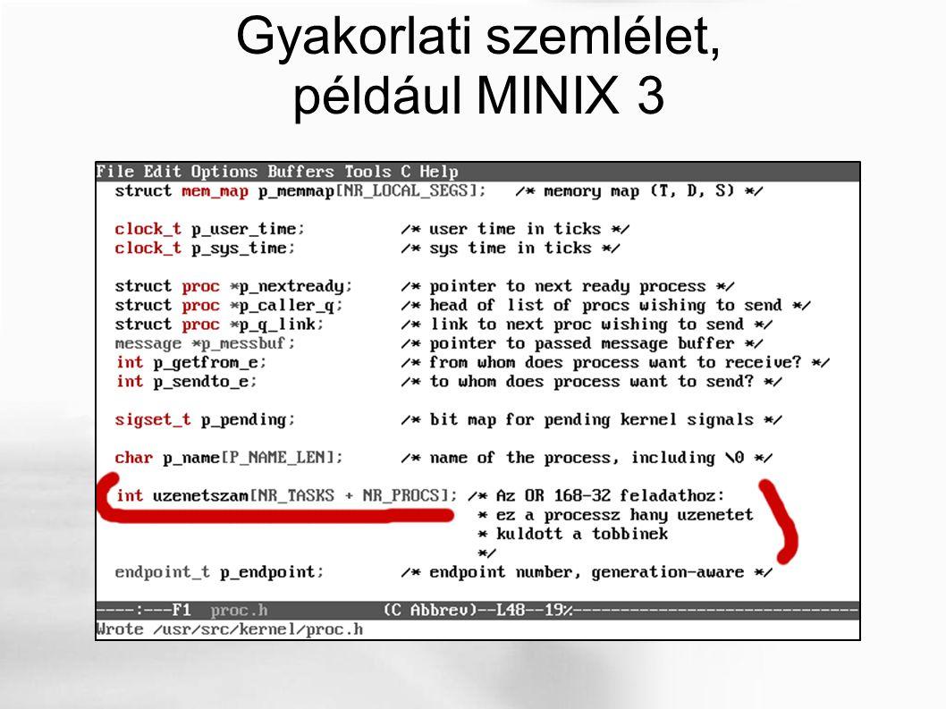 Gyakorlati szemlélet, például MINIX 3