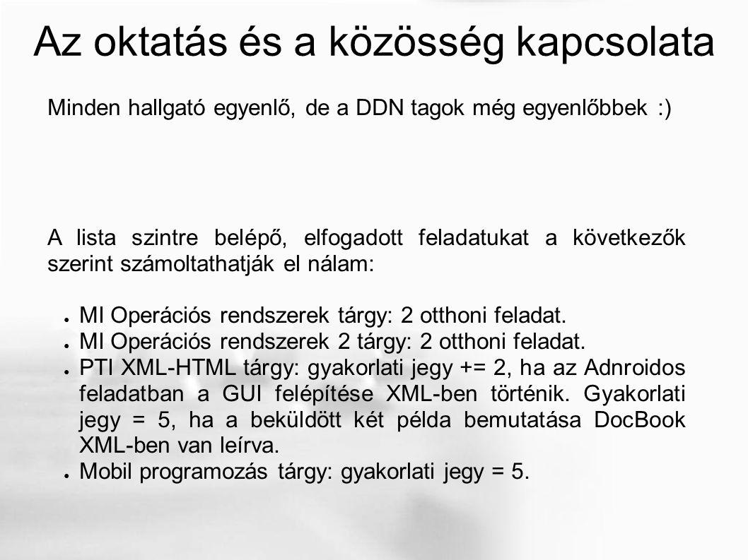 Az oktatás és a közösség kapcsolata Minden hallgató egyenlő, de a DDN tagok még egyenlőbbek :) A lista szintre belépő, elfogadott feladatukat a következők szerint számoltathatják el nálam: ● MI Operációs rendszerek tárgy: 2 otthoni feladat.