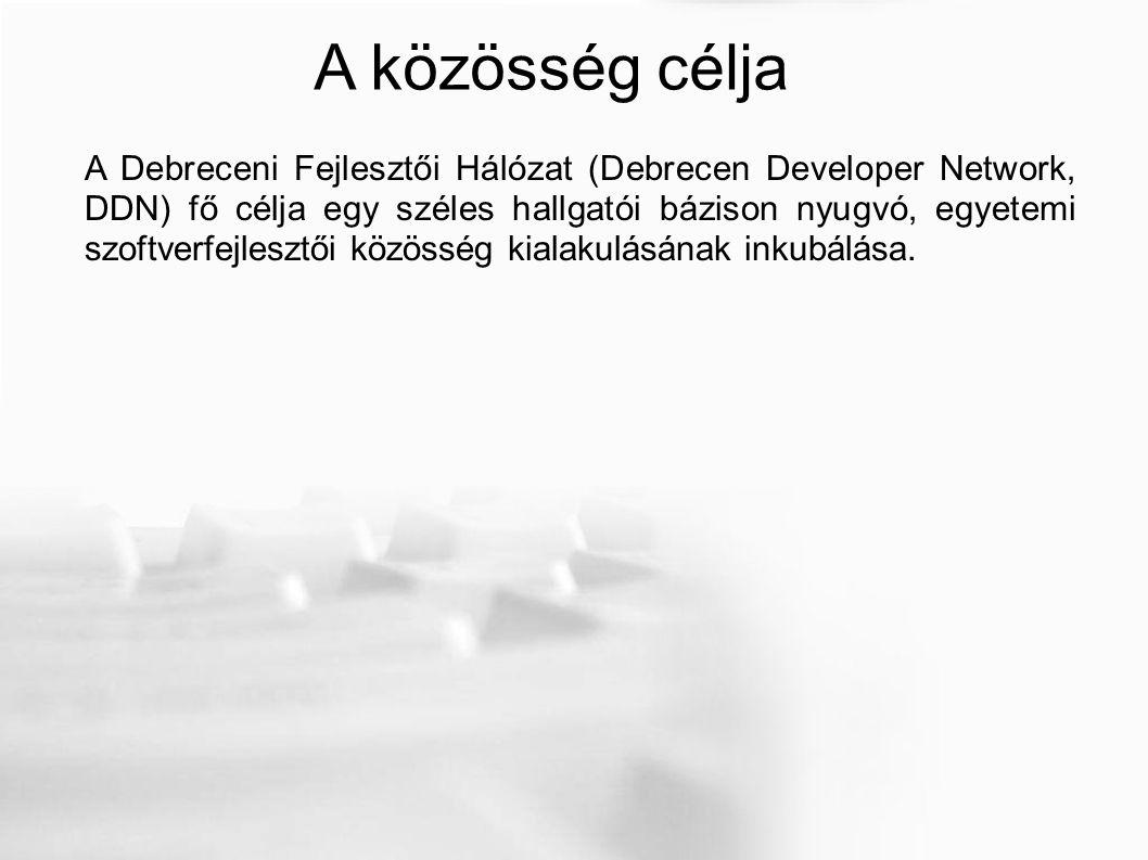 A közösség célja A Debreceni Fejlesztői Hálózat (Debrecen Developer Network, DDN) fő célja egy széles hallgatói bázison nyugvó, egyetemi szoftverfejlesztői közösség kialakulásának inkubálása.