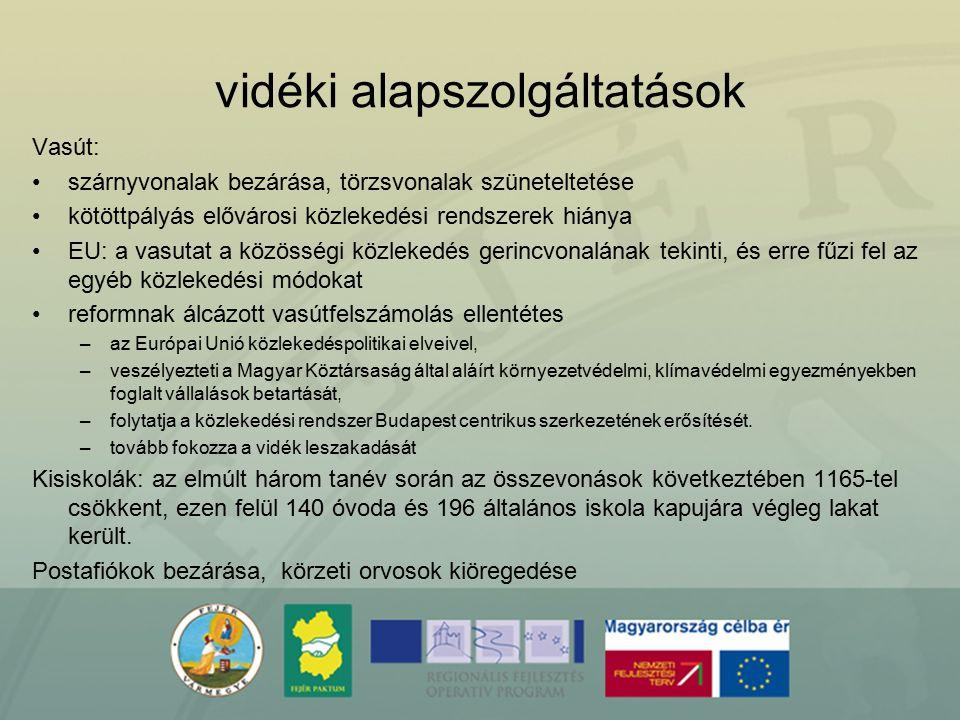 vidéki alapszolgáltatások Vasút: szárnyvonalak bezárása, törzsvonalak szüneteltetése kötöttpályás elővárosi közlekedési rendszerek hiánya EU: a vasuta