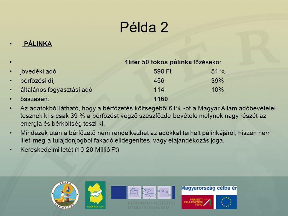 Példa 2 PÁLINKA 1liter 50 fokos pálinka főzésekor jövedéki adó 590 Ft51 % bérfőzési díj 45639% általános fogyasztási adó11410% összesen:1160 Az adatok
