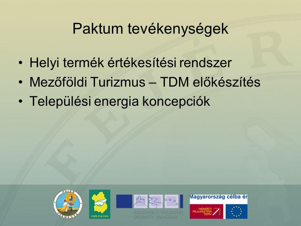 Paktum tevékenységek Helyi termék értékesítési rendszer Mezőföldi Turizmus – TDM előkészítés Települési energia koncepciók