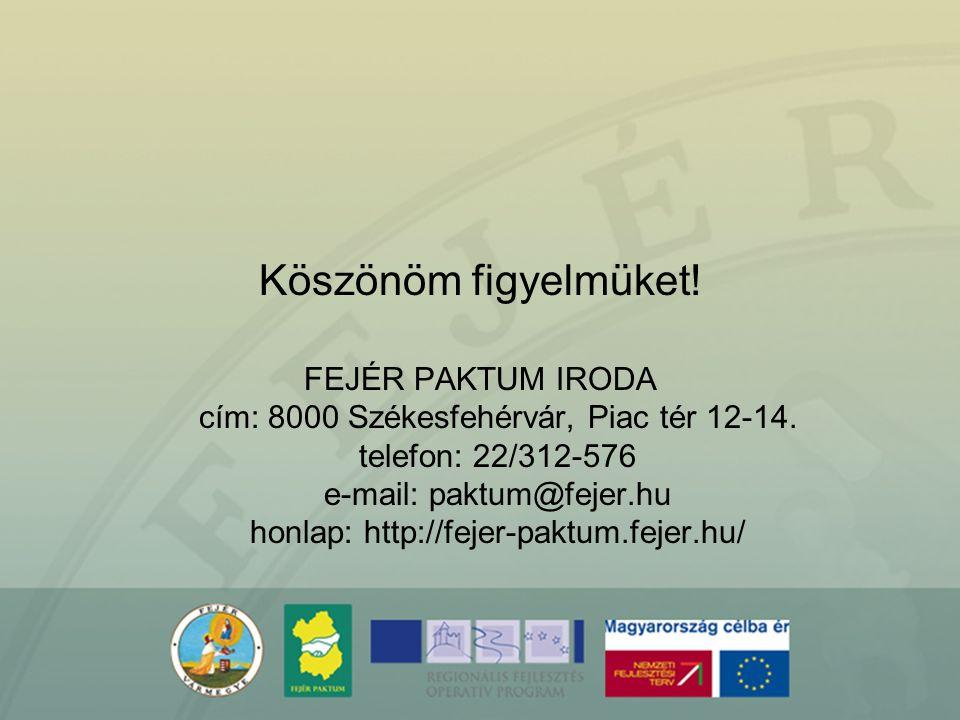Köszönöm figyelmüket! FEJÉR PAKTUM IRODA cím: 8000 Székesfehérvár, Piac tér 12-14. telefon: 22/312-576 e-mail: paktum@fejer.hu honlap: http://fejer-pa