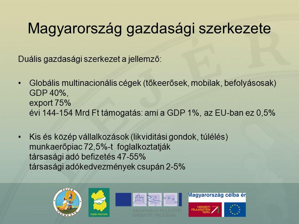 Magyarország gazdasági szerkezete Duális gazdasági szerkezet a jellemző: Globális multinacionális cégek (tőkeerősek, mobilak, befolyásosak) GDP 40%, e