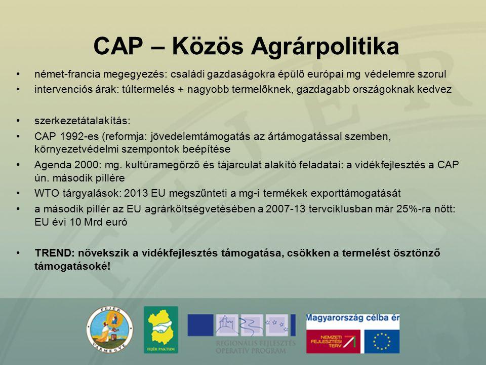 CAP – Közös Agrárpolitika német-francia megegyezés: családi gazdaságokra épülő európai mg védelemre szorul intervenciós árak: túltermelés + nagyobb te