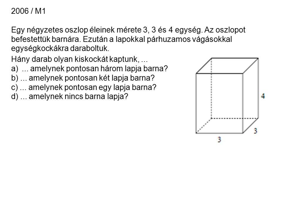 2006 / M1 Egy négyzetes oszlop éleinek mérete 3, 3 és 4 egység.