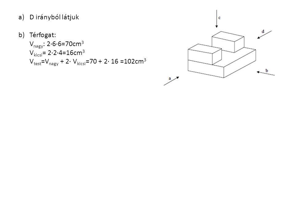 a)D irányból látjuk b)Térfogat: V nagy : 2∙6∙6=70cm 3 V kicsi = 2∙2∙4=16cm 3 V test =V nagy + 2∙ V kicsi =70 + 2∙ 16 =102cm 3
