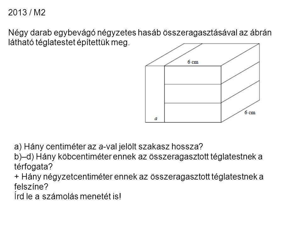 2013 / M2 Négy darab egybevágó négyzetes hasáb összeragasztásával az ábrán látható téglatestet építettük meg.