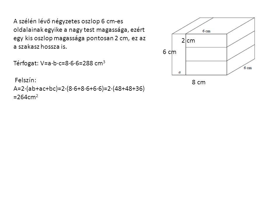 A szélén lévő négyzetes oszlop 6 cm-es oldalainak egyike a nagy test magassága, ezért egy kis oszlop magassága pontosan 2 cm, ez az a szakasz hossza is.