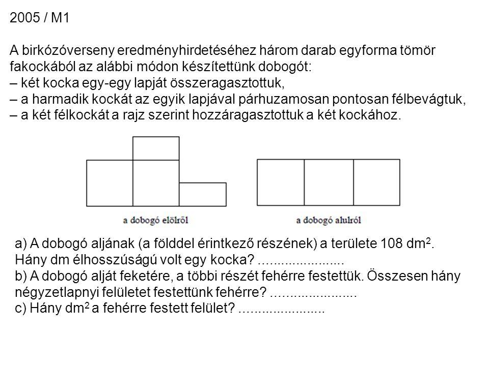 2005 / M1 A birkózóverseny eredményhirdetéséhez három darab egyforma tömör fakockából az alábbi módon készítettünk dobogót: – két kocka egy-egy lapját összeragasztottuk, – a harmadik kockát az egyik lapjával párhuzamosan pontosan félbevágtuk, – a két félkockát a rajz szerint hozzáragasztottuk a két kockához.