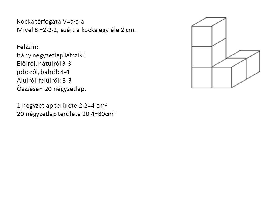 Kocka térfogata V=a∙a∙a Mivel 8 =2∙2∙2, ezért a kocka egy éle 2 cm.