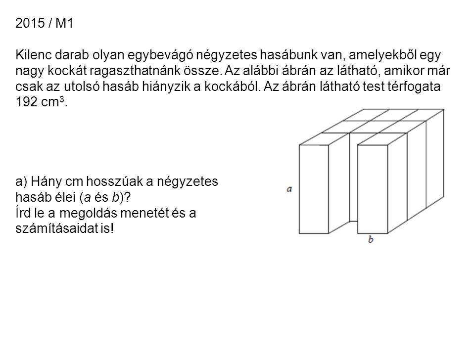 2015 / M1 Kilenc darab olyan egybevágó négyzetes hasábunk van, amelyekből egy nagy kockát ragaszthatnánk össze.