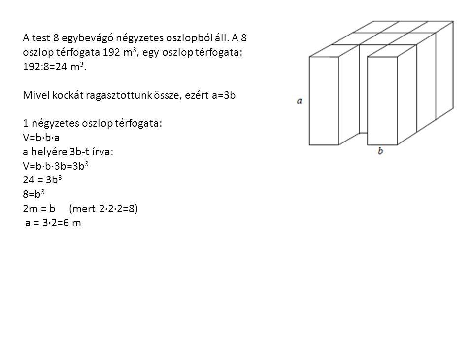 A test 8 egybevágó négyzetes oszlopból áll.
