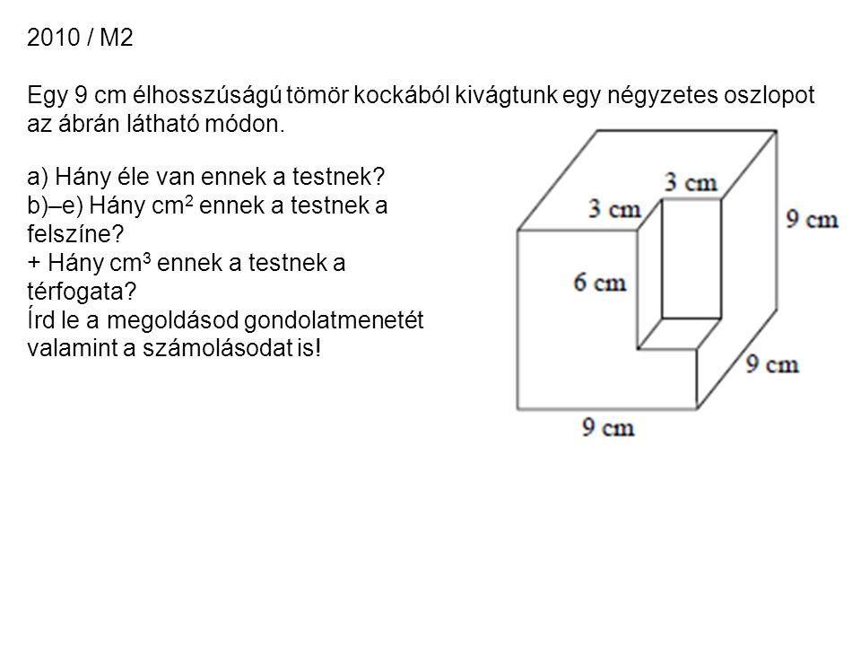 2010 / M2 Egy 9 cm élhosszúságú tömör kockából kivágtunk egy négyzetes oszlopot az ábrán látható módon.