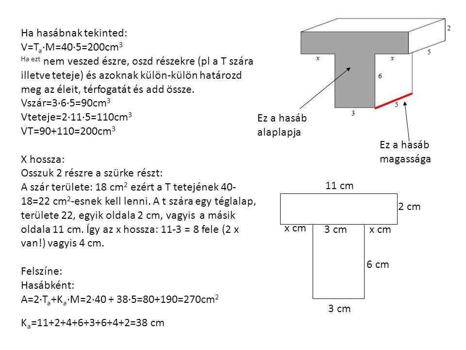 Ha hasábnak tekinted: V=T a ∙M=40∙5=200cm 3 Ha ezt nem veszed észre, oszd részekre (pl a T szára illetve teteje) és azoknak külön-külön határozd meg az éleit, térfogatát és add össze.