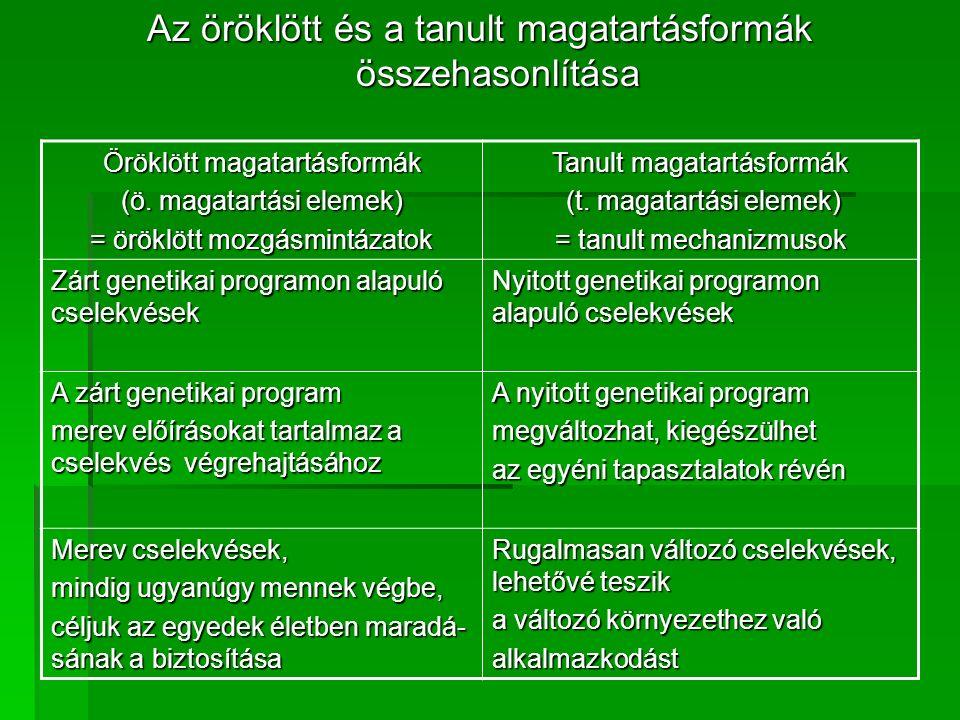 - operáns tanulás: - a magatartásra irányuló dicséret pozitív megerő- sítés, az elmarasztalás negatív megerősítés - belátásos tanulás: - az iskolában a megszerzett ismeretek új rend- szerben való alkalmazása