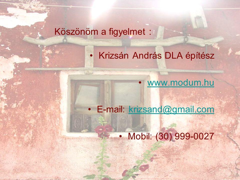 Köszönöm a figyelmet : Krizsán András DLA építész www.modum.hu E-mail: krizsand@gmail.comkrizsand@gmail.com Mobil: (30) 999-0027