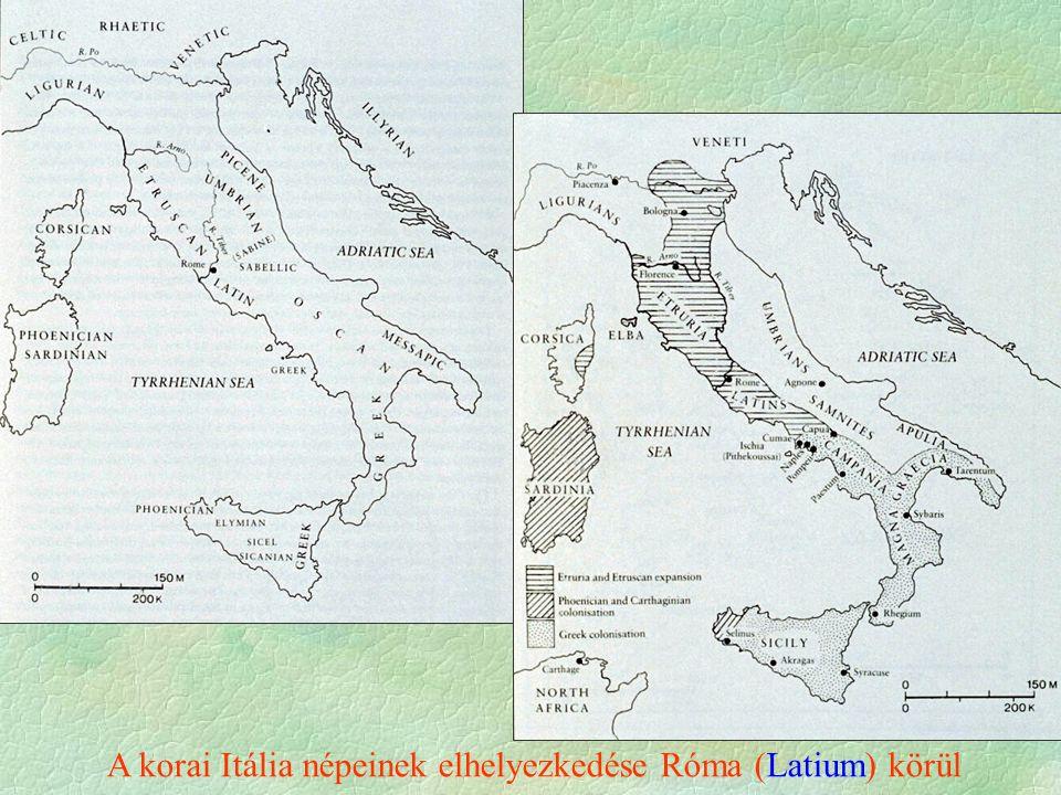 A korai Itália népeinek elhelyezkedése Róma (Latium) körül