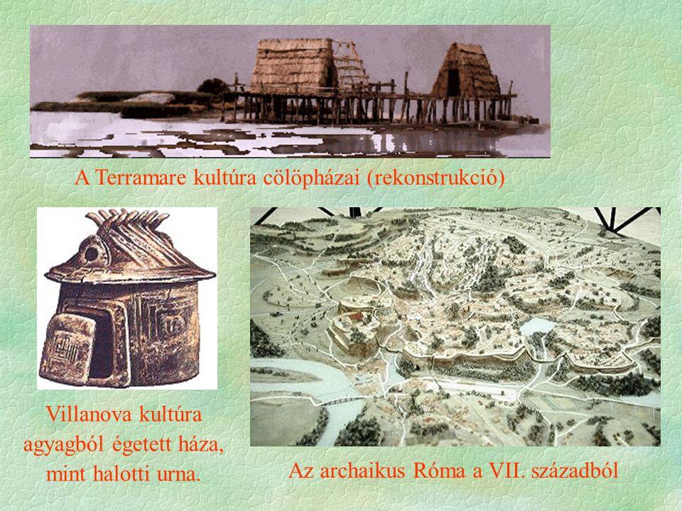 A Terramare kultúra cölöpházai (rekonstrukció) Villanova kultúra agyagból égetett háza, mint halotti urna.