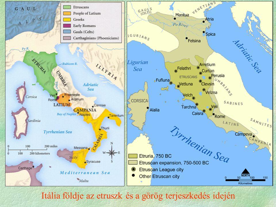 Itália földje az etruszk és a görög terjeszkedés idején