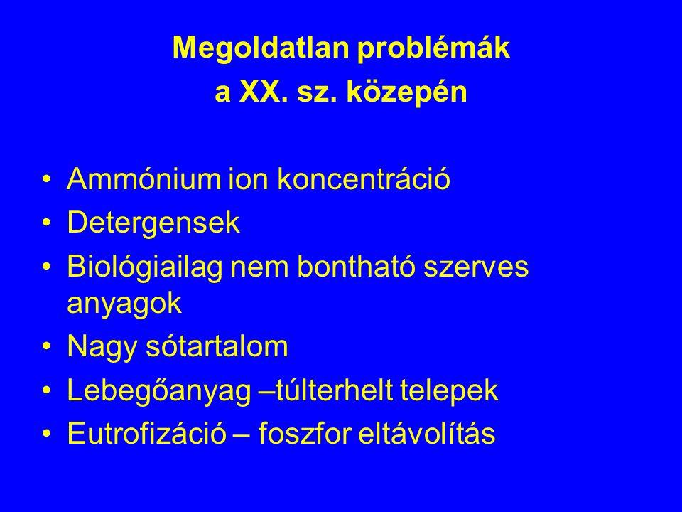 Kecskeméti Szennyvíztisztító Telep 19 000 m 3 /d; 177 ezer leé határértékek: KOI: 75 mg/L BOI 5 : 25 mg/L TN: 50 mg/L TP: 10 mg/L (5 mg/L – 2010-től) NH 4 -N: 10 mg/L TSS: 50 mg/L
