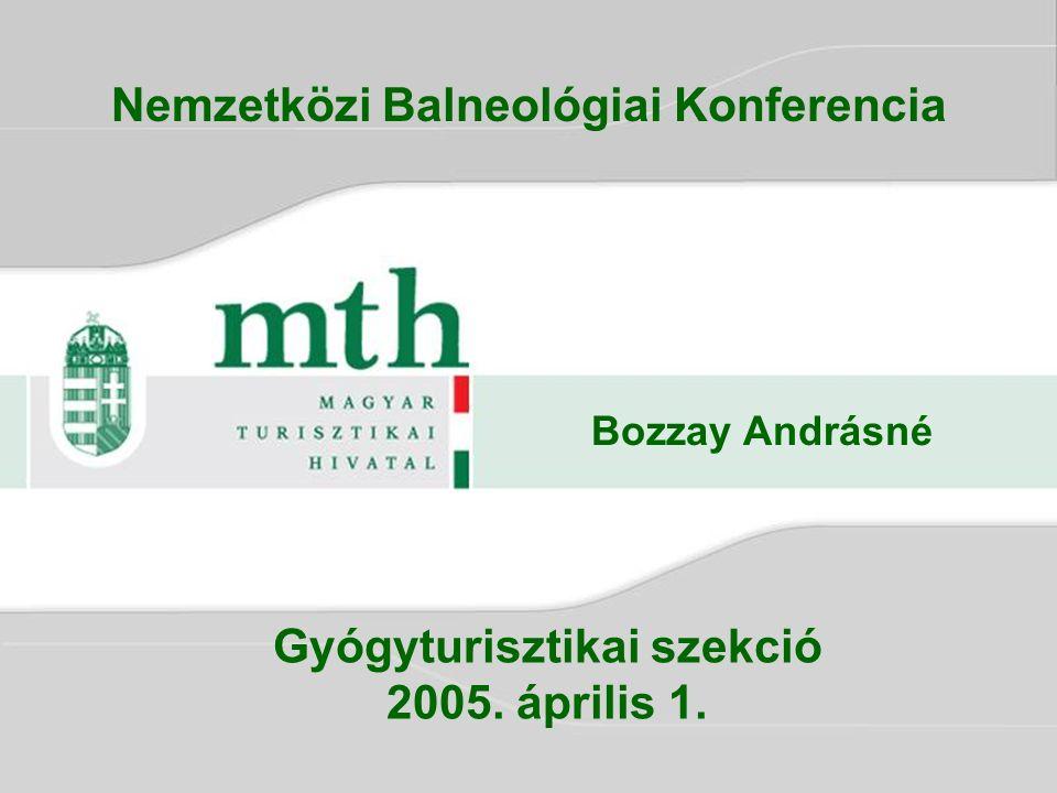 Gyógyturisztikai szekció 2005. április 1. Bozzay Andrásné Nemzetközi Balneológiai Konferencia