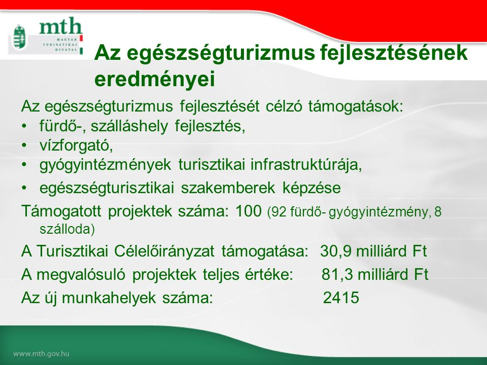 Az egészségturizmus fejlesztését célzó támogatások: fürdő-, szálláshely fejlesztés, vízforgató, gyógyintézmények turisztikai infrastruktúrája, egészségturisztikai szakemberek képzése Támogatott projektek száma: 100 (92 fürdő- gyógyintézmény, 8 szálloda) A Turisztikai Célelőirányzat támogatása: 30,9 milliárd Ft A megvalósuló projektek teljes értéke: 81,3 milliárd Ft Az új munkahelyek száma: 2415 Az egészségturizmus fejlesztésének eredményei