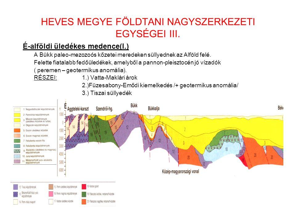 HEVES MEGYE FÖLDTANI NAGYSZERKEZETI EGYSÉGEI III. É-alföldi üledékes medence(I.) A Bükk paleo-mezozoós kőzetei meredeken süllyednek az Alföld felé. Fe