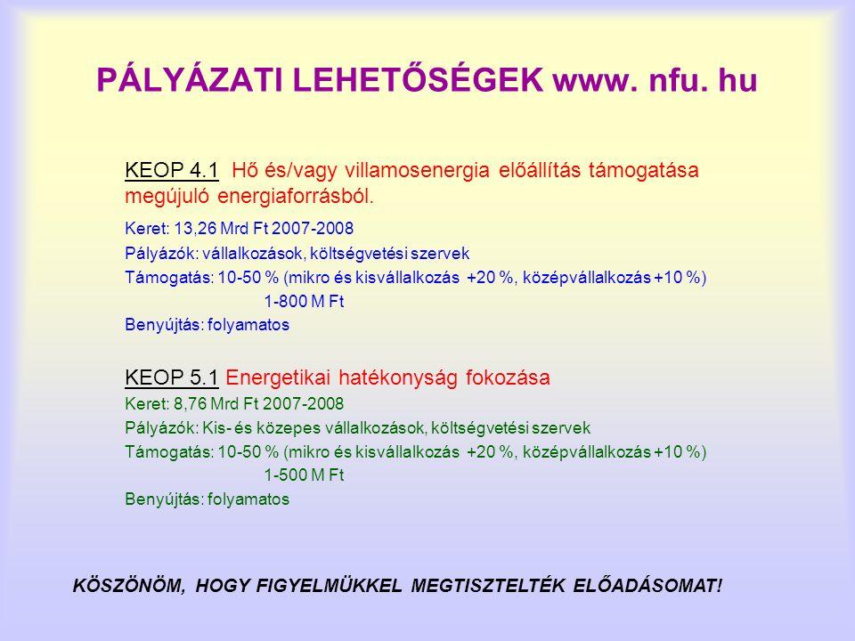 PÁLYÁZATI LEHETŐSÉGEK www. nfu. hu KEOP 4.1 Hő és/vagy villamosenergia előállítás támogatása megújuló energiaforrásból. Keret: 13,26 Mrd Ft 2007-2008