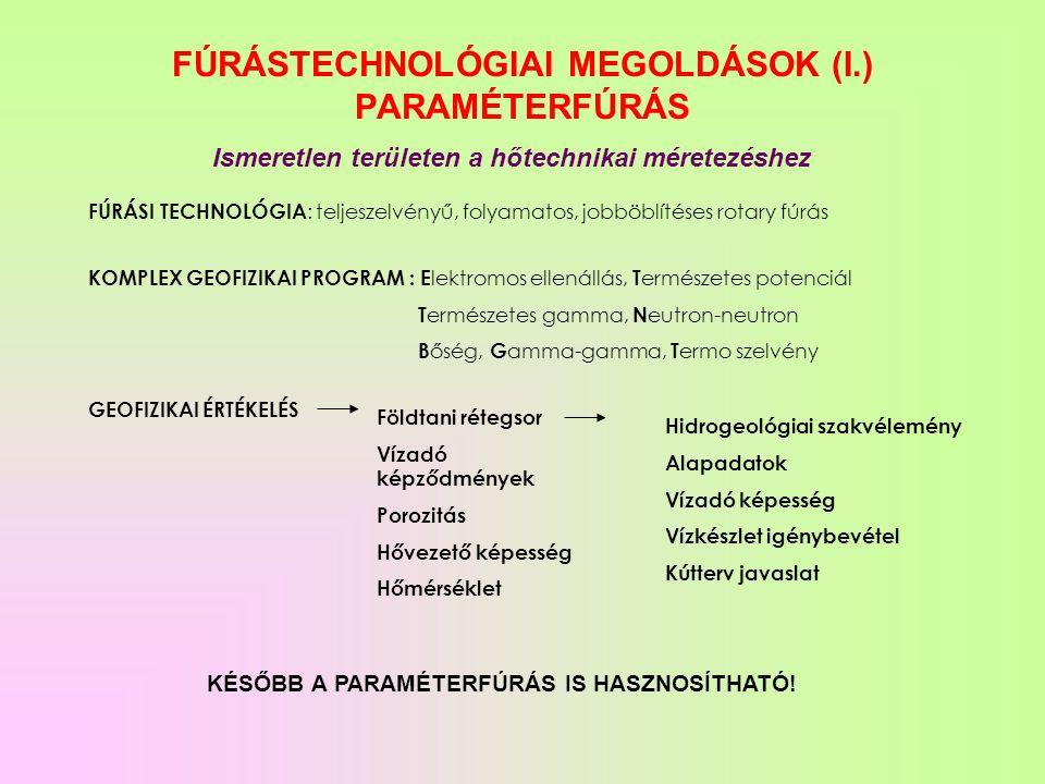 FÚRÁSTECHNOLÓGIAI MEGOLDÁSOK (I.) PARAMÉTERFÚRÁS Ismeretlen területen a hőtechnikai méretezéshez FÚRÁSI TECHNOLÓGIA : teljeszelvényű, folyamatos, jobböblítéses rotary fúrás KOMPLEX GEOFIZIKAI PROGRAM : E lektromos ellenállás, T ermészetes potenciál T ermészetes gamma, N eutron-neutron B őség, G amma-gamma, T ermo szelvény GEOFIZIKAI ÉRTÉKELÉS Földtani rétegsor Vízadó képződmények Porozitás Hővezető képesség Hőmérséklet Hidrogeológiai szakvélemény Alapadatok Vízadó képesség Vízkészlet igénybevétel Kútterv javaslat KÉSŐBB A PARAMÉTERFÚRÁS IS HASZNOSÍTHATÓ!