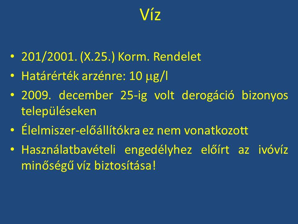 Víz 201/2001. (X.25.) Korm. Rendelet Határérték arzénre: 10  g/l 2009. december 25-ig volt derogáció bizonyos településeken Élelmiszer-előállítókra e