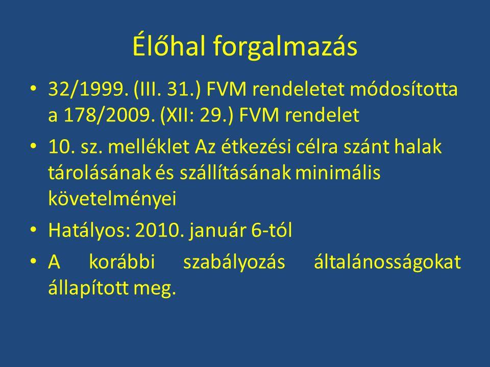Élőhal forgalmazás 32/1999. (III. 31.) FVM rendeletet módosította a 178/2009. (XII: 29.) FVM rendelet 10. sz. melléklet Az étkezési célra szánt halak