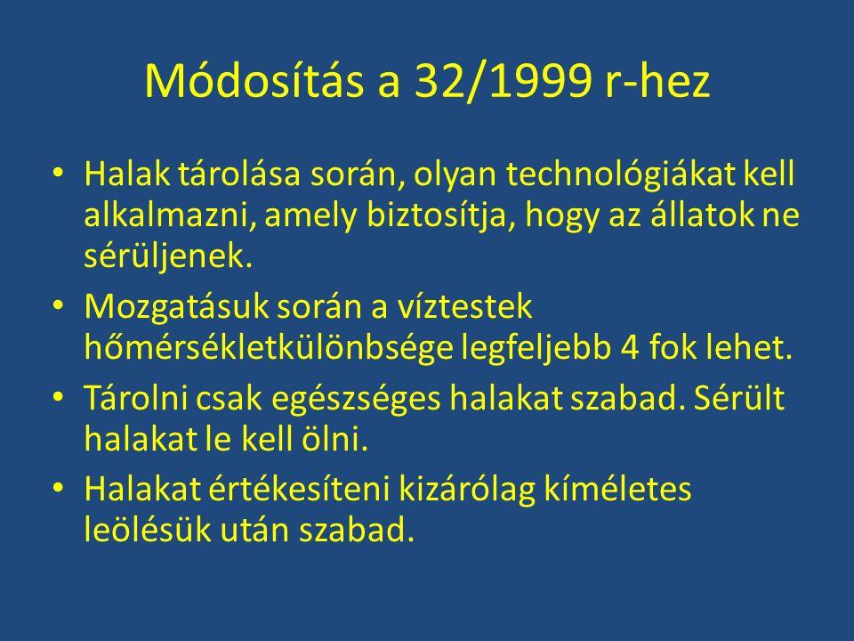Módosítás a 32/1999 r-hez Kábítás: – Elektromos áram – Agyrázkódás Leölés: Letális mértékű agyrázkódás előidézésével Vásárló kérésére a halakat úgy kell kábítani és leölni, hogy az a vásárlótérből ne legyen látható