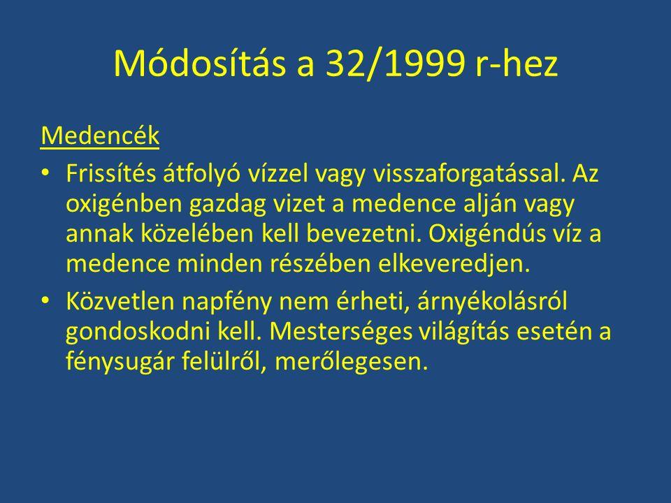 Módosítás a 32/1999 r-hez Medencék Frissítés átfolyó vízzel vagy visszaforgatással. Az oxigénben gazdag vizet a medence alján vagy annak közelében kel