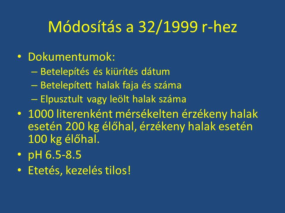 Módosítás a 32/1999 r-hez Kiugrást meg kell akadályozni.