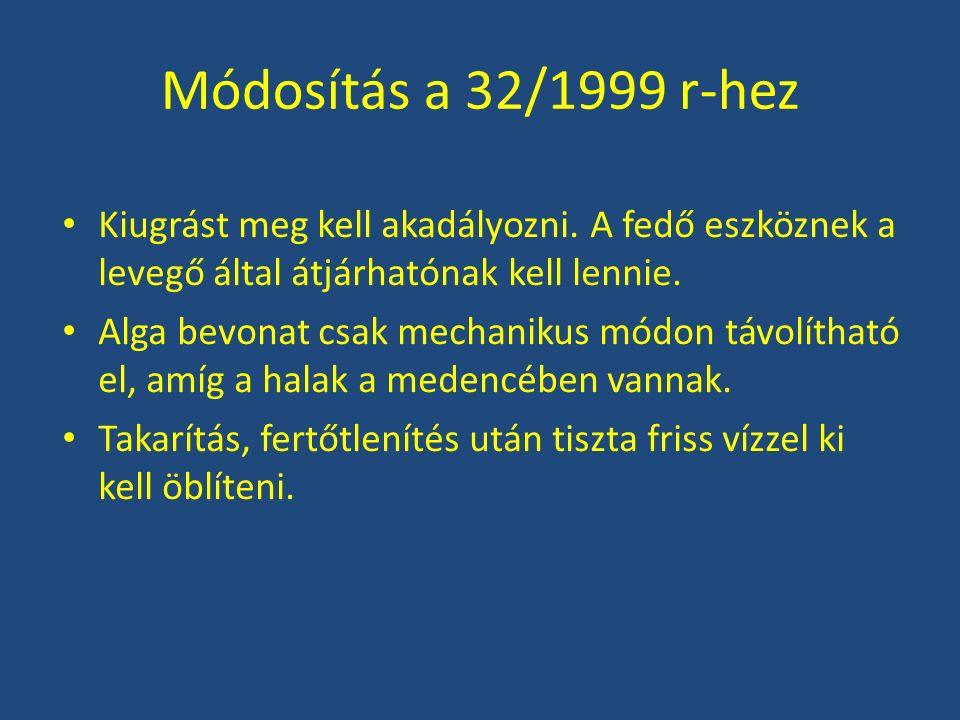 Módosítás a 32/1999 r-hez Kiugrást meg kell akadályozni. A fedő eszköznek a levegő által átjárhatónak kell lennie. Alga bevonat csak mechanikus módon