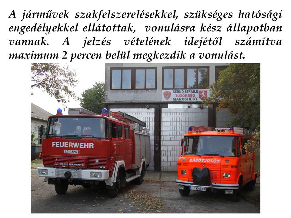 A járművek szakfelszerelésekkel, szükséges hatósági engedélyekkel ellátottak, vonulásra kész állapotban vannak.