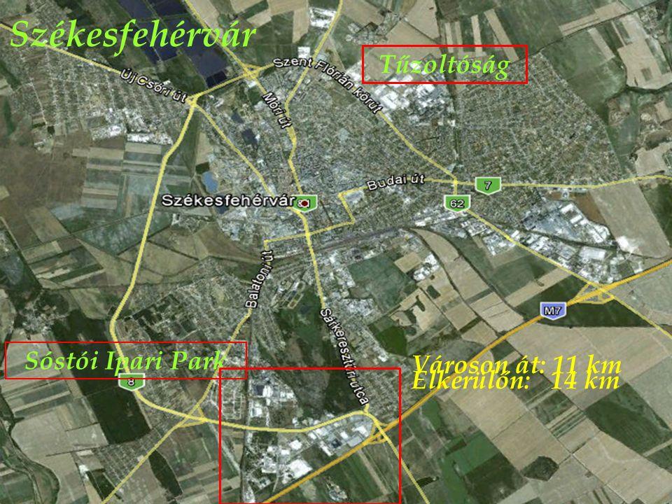 Székesfehérvár Tűzoltóság Sóstói Ipari Park Városon át: 11 km Elkerülőn: 14 km