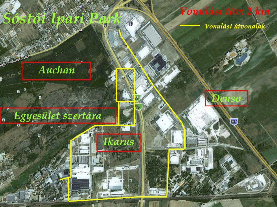 Sóstói Ipari Park Denso Vonulási táv: 2 km Egyesület szertára Auchan Ikarus Vonulási útvonalak