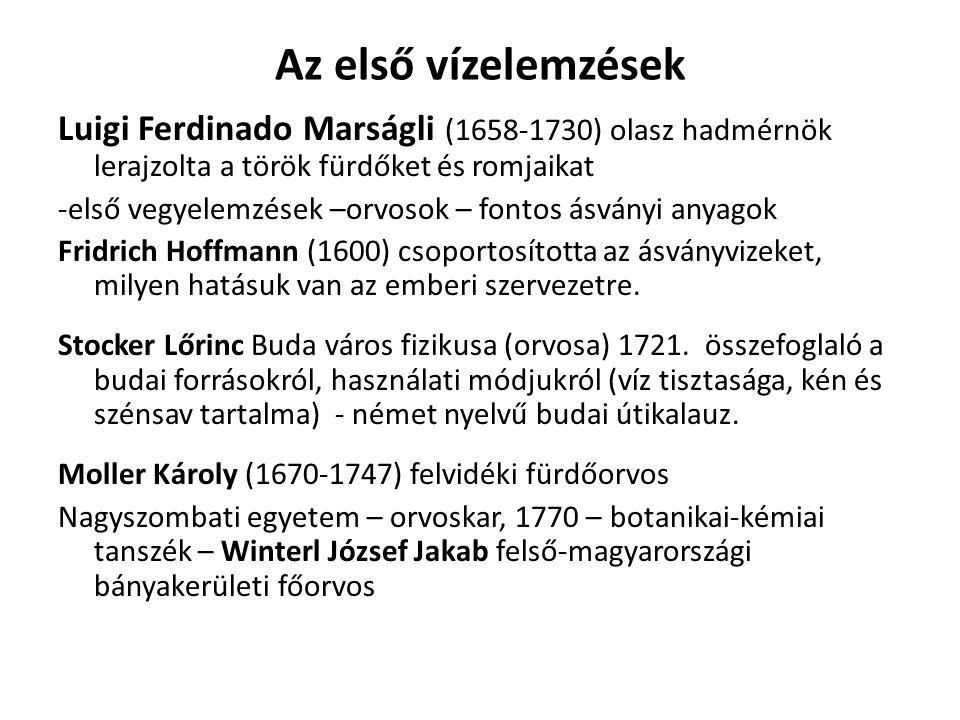 Az első vízelemzések Luigi Ferdinado Marságli (1658-1730) olasz hadmérnök lerajzolta a török fürdőket és romjaikat -első vegyelemzések –orvosok – font