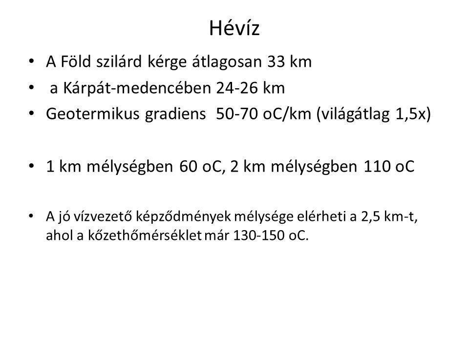 Hévíz A Föld szilárd kérge átlagosan 33 km a Kárpát-medencében24-26 km Geotermikus gradiens50-70 oC/km (világátlag 1,5x) 1 km mélységben 60 oC, 2 km m