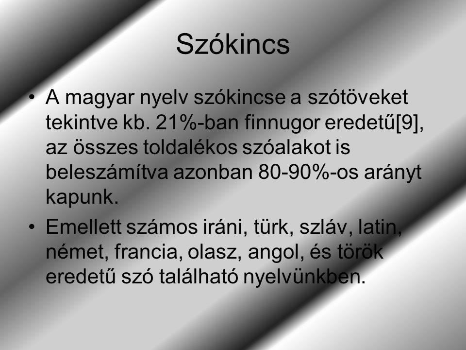 Szókincs A magyar nyelv szókincse a szótöveket tekintve kb. 21%-ban finnugor eredetű[9], az összes toldalékos szóalakot is beleszámítva azonban 80-90%