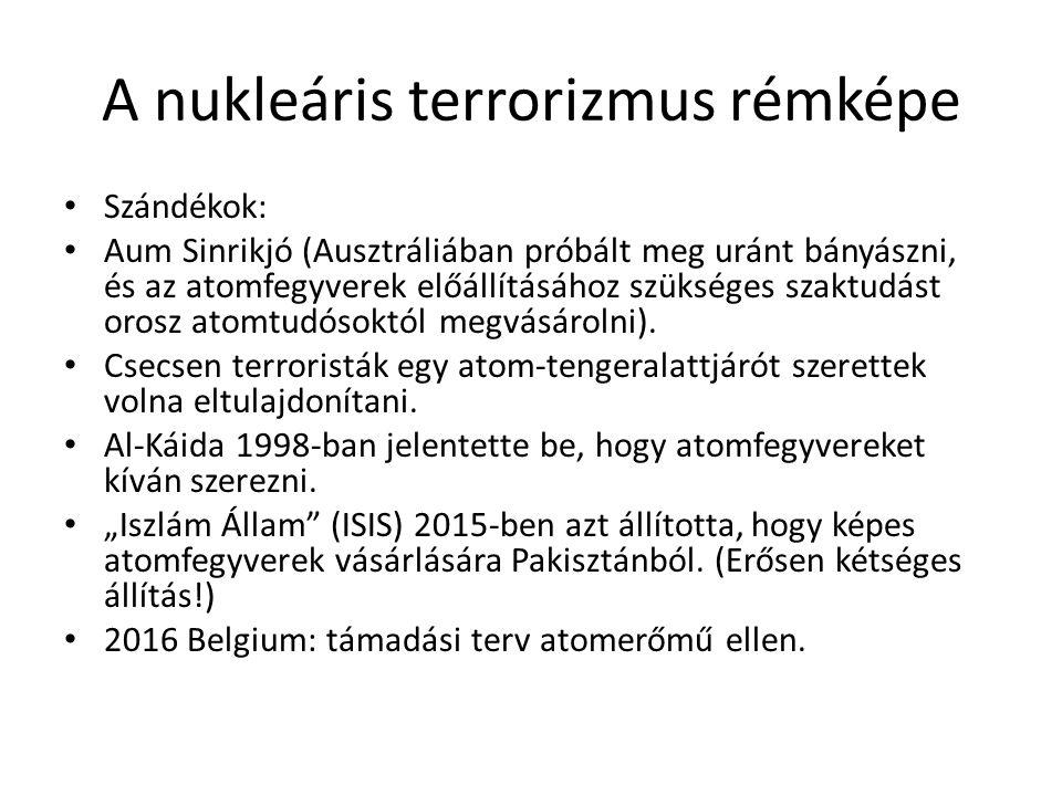 A nukleáris terrorizmus rémképe Szándékok: Aum Sinrikjó (Ausztráliában próbált meg uránt bányászni, és az atomfegyverek előállításához szükséges szakt
