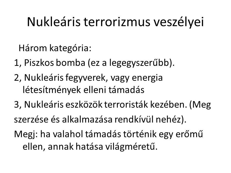 Nukleáris terrorizmus veszélyei Három kategória: 1, Piszkos bomba (ez a legegyszerűbb). 2, Nukleáris fegyverek, vagy energia létesítmények elleni táma